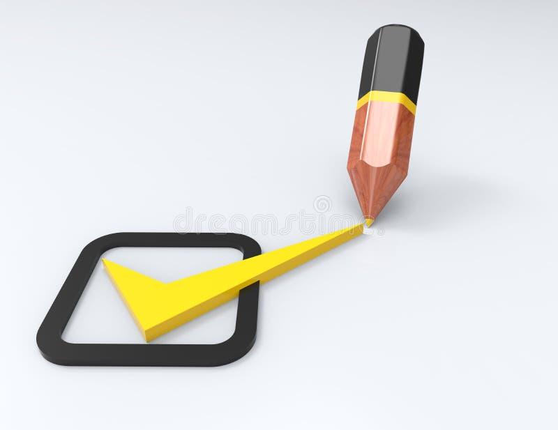 Желтый цвет контрольного списка тикает в флажках и ручке иллюстрация штока