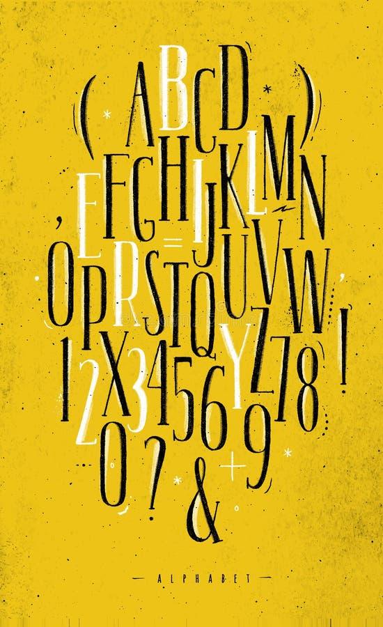 Желтый цвет шрифта алфавита готический бесплатная иллюстрация