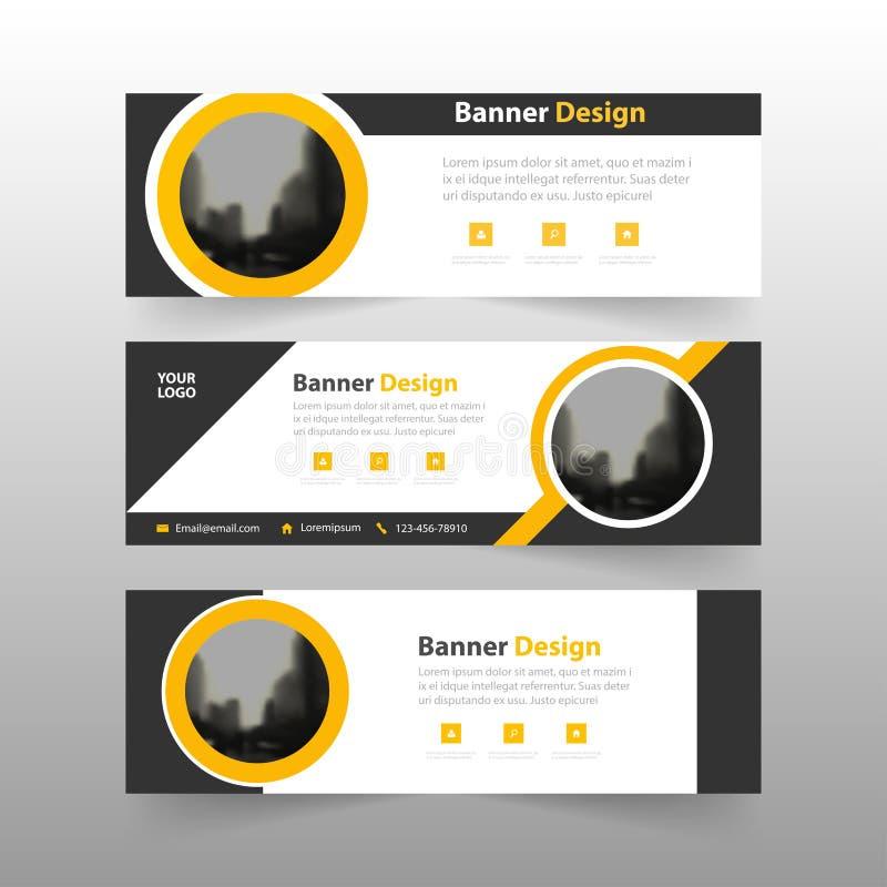 Желтый черный абстрактный шаблон знамени корпоративного бизнеса треугольника, горизонтальный шаблон плана знамени дела рекламы бесплатная иллюстрация