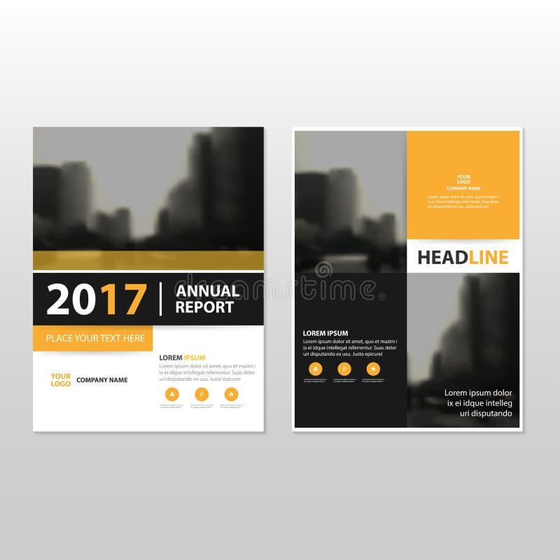 Желтый черный шаблон рогульки брошюры листовки годового отчета вектора иллюстрация вектора
