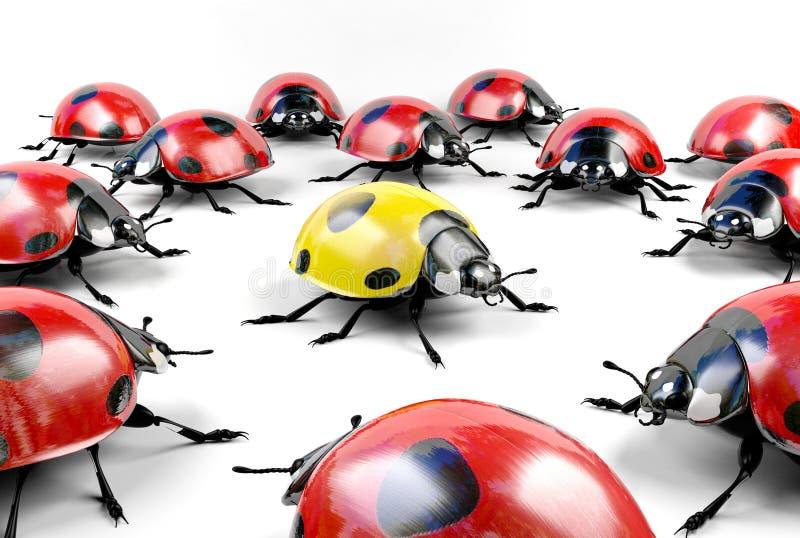 Желтый ladybug среди группы в составе красные ladybugs стоковая фотография rf