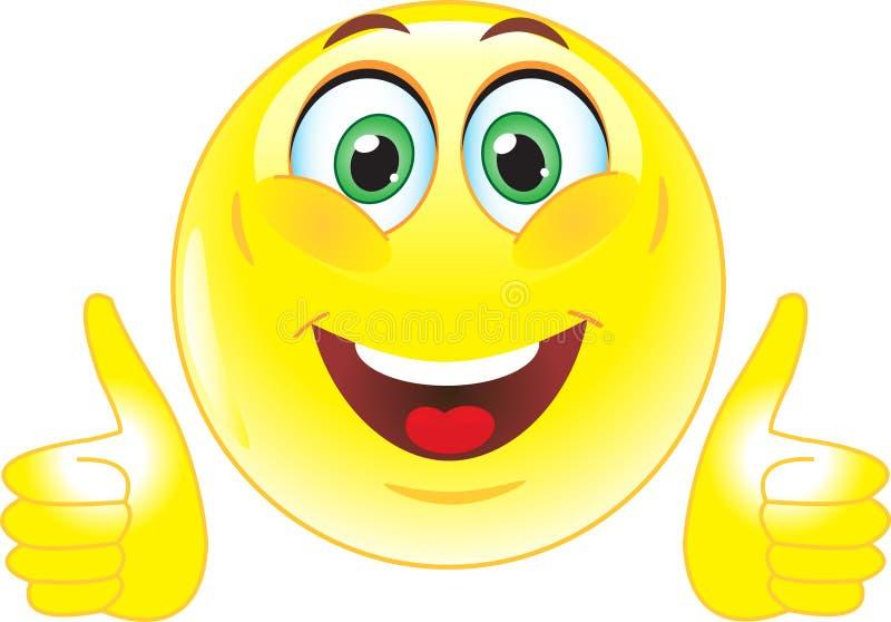 Желтый smiley показывает что все хорошо иллюстрация вектора