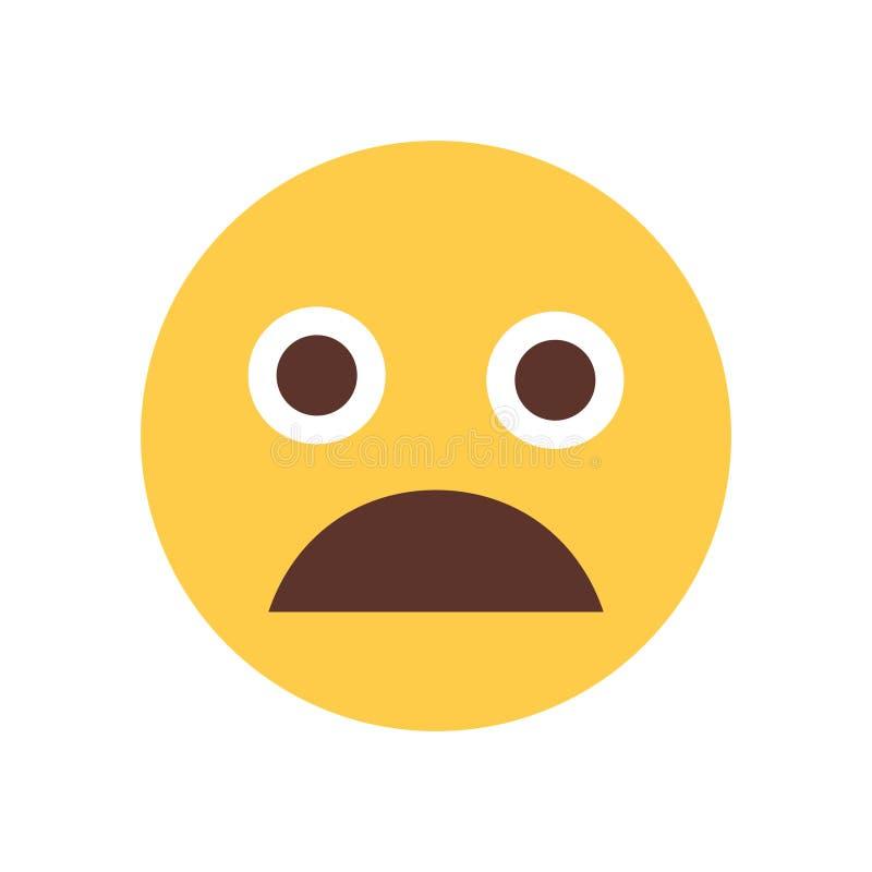 Желтым значок эмоции людей Emoji стороны шаржа сотрясенный клекотом иллюстрация вектора