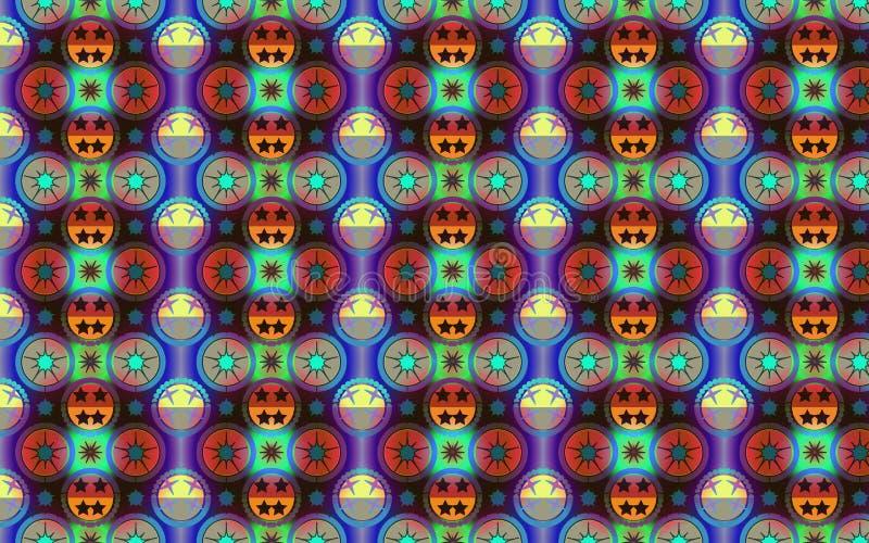 Живая картина в голубом, красной и зеленой для декоративной и ткани иллюстрация штока