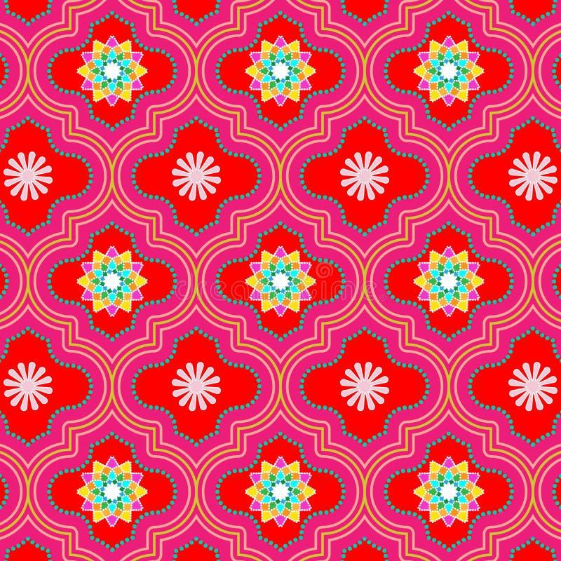 Живая красивая красная марокканськая флористическая безшовная картина иллюстрация штока