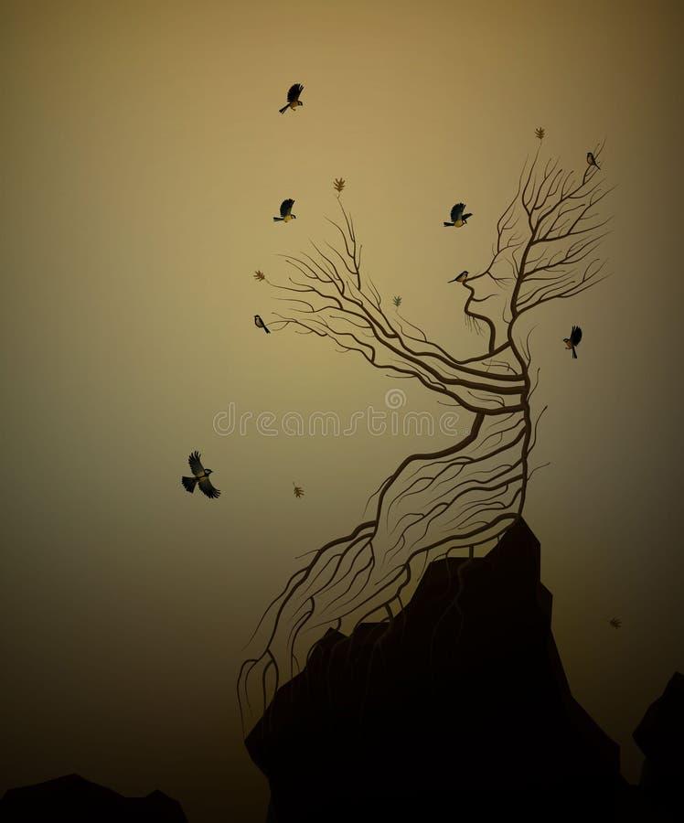 Живое дерево на утесе и птицы titmouses, душа дерева, человек как дерево давая его ветвь летящим птицам, сказку руки иллюстрация штока