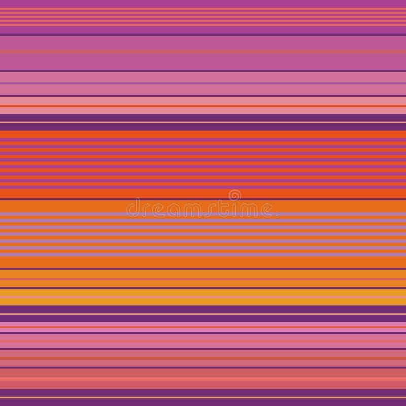 Живое пурпурное, пинк и оранжевый плотно striped дизайн Безшовная картина вектора с ярким vibe пляжа Большой для пляжа иллюстрация вектора