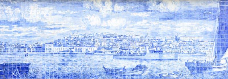 Живописание Лиссабона с характеристиками плитки стоковое изображение