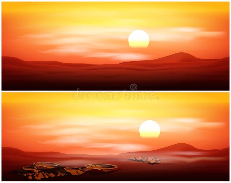 Живописная марсианская панорама иллюстрация штока