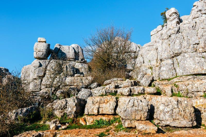 Живописные примеры ландшафта karst, природного парка El Torcal de Antequera, Испании стоковая фотография