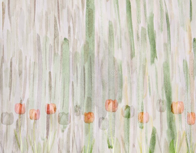Живописные тюльпаны на абстрактной зеленой предпосылке handmade иллюстрация штока