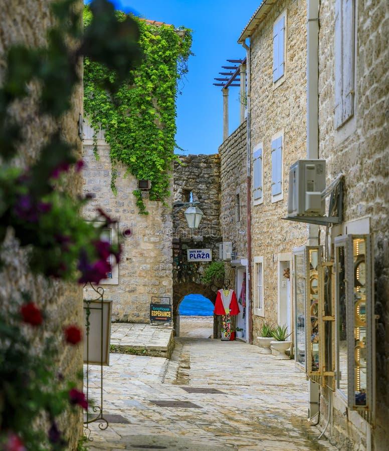 Живописные улицы старого городка Budva с целью цветков Адриатического моря и bokeh на переднем плане в Черногории стоковые фотографии rf
