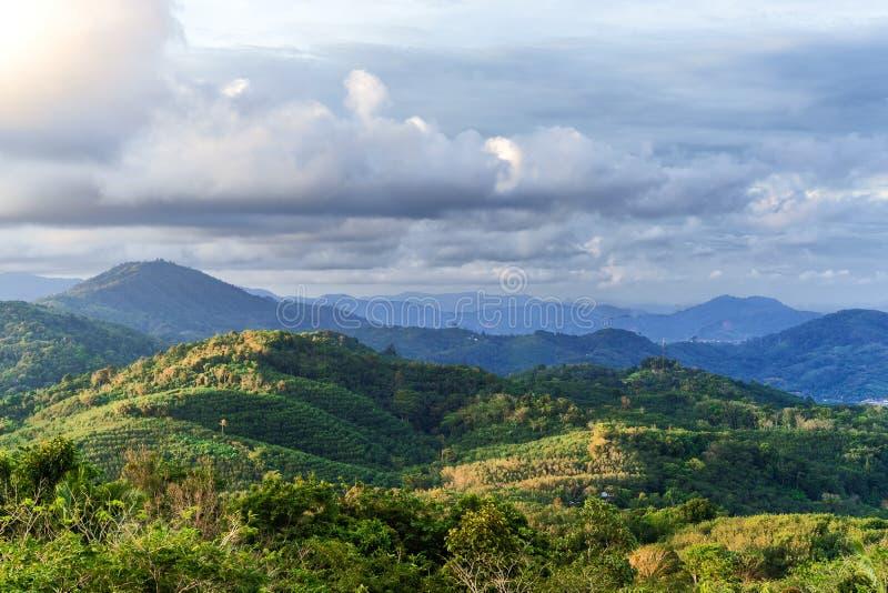 Живописный взгляд холмов и лесов Пхукета, Таиланда стоковые изображения