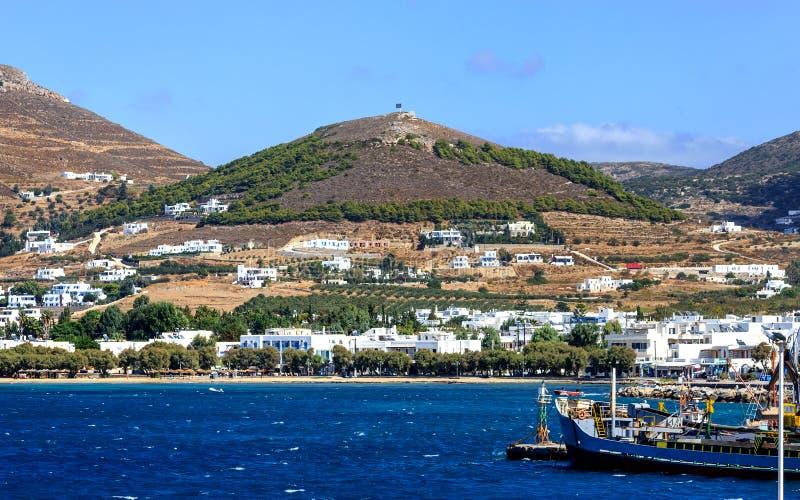 Живописный взгляд Ios острова, Греция стоковые фото