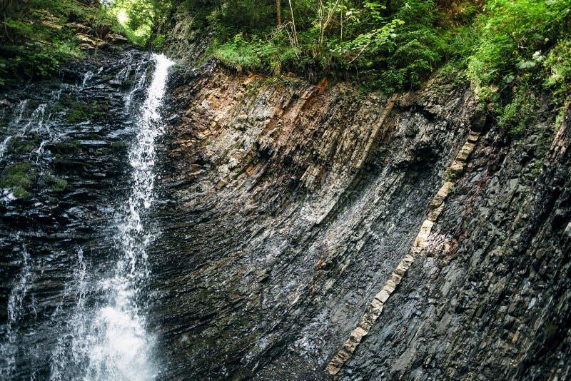 Живописный водопад в лесе стоковые изображения rf