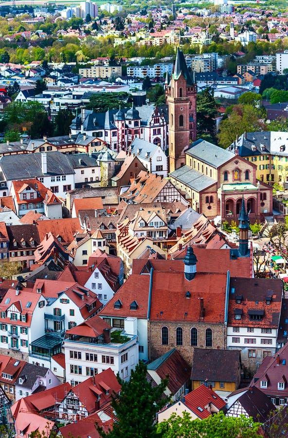 Живописный старый городок Weinheim, Германии стоковые фотографии rf