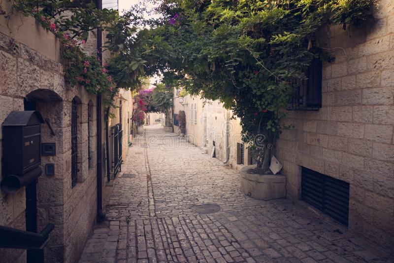 Живописный старый узкий переулок с красивыми естественными archs в некотором европейском старом городке Пустой переулок с альпини стоковые изображения rf