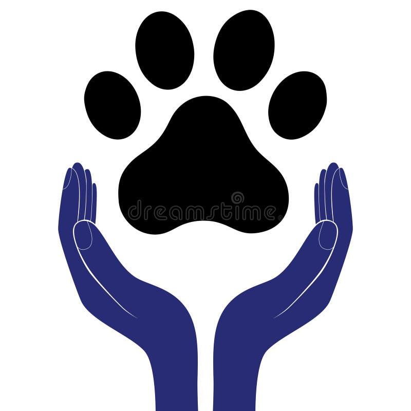 Животная лапка собаки в руке людей, человеческая помощь ободряет illustratration вектора бесплатная иллюстрация