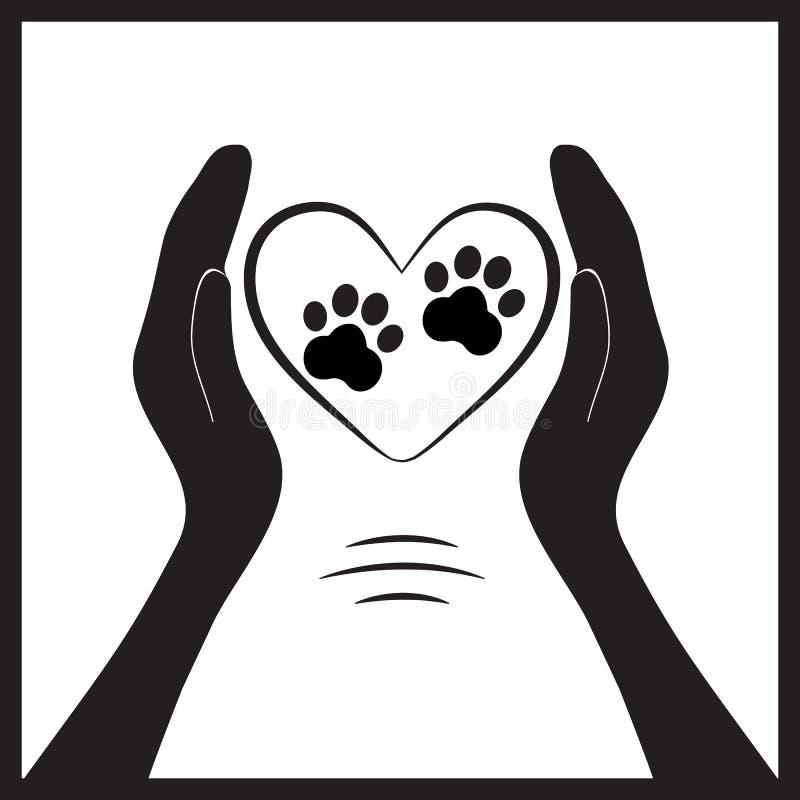 Животная лапка собаки в руке людей иллюстрация штока