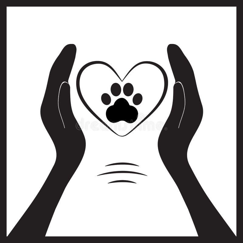 Животная лапка собаки в людях hand1 иллюстрация вектора