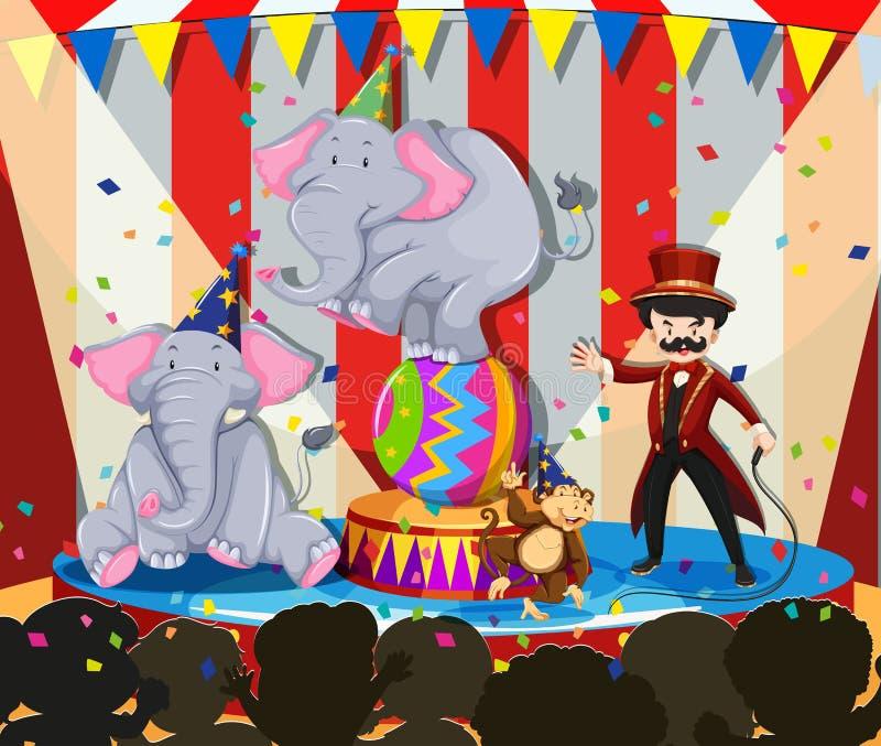 Животная выставка на цирке иллюстрация штока