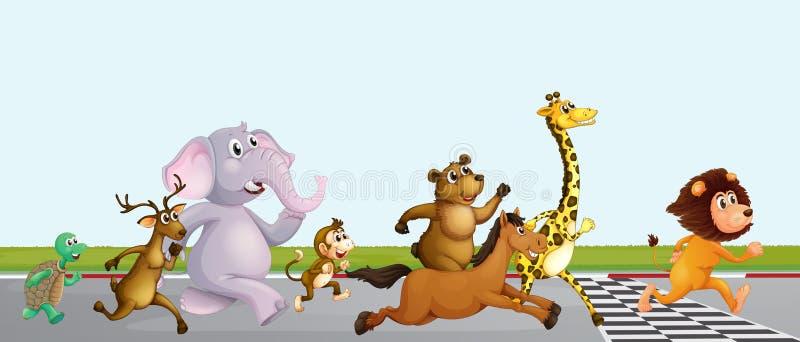 Животная идущая гонка на финишной черте иллюстрация штока