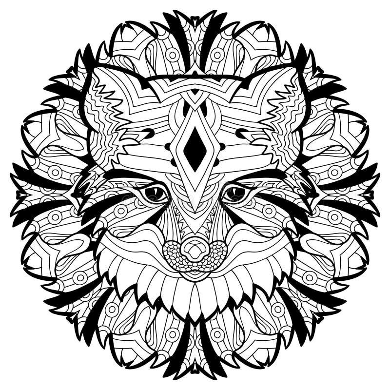 Животная концепция конструируйте линию Голова Fox иллюстрация штока