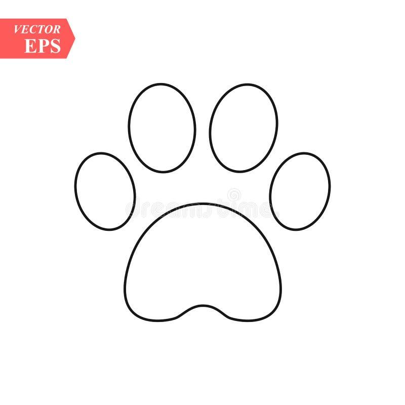 Животная линия печати иллюстрация значка лапки кота собаки ноги вектора иллюстрация вектора