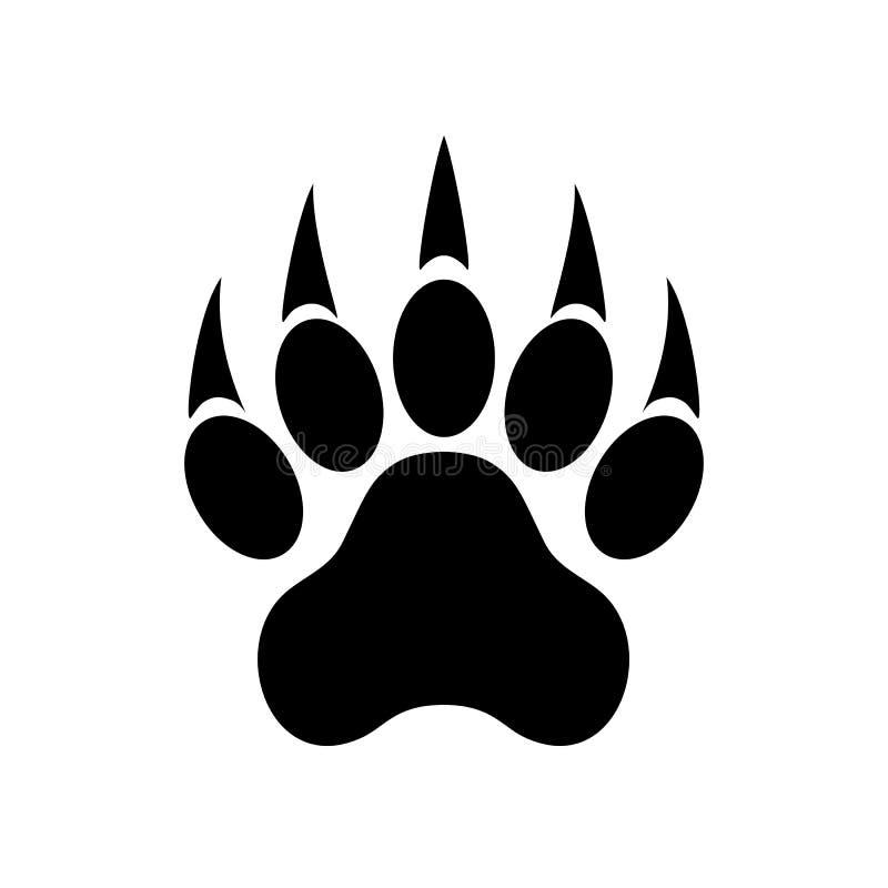 Животная печать лапки с когтями Лапка тигра След ноги также вектор иллюстрации притяжки corel иллюстрация вектора