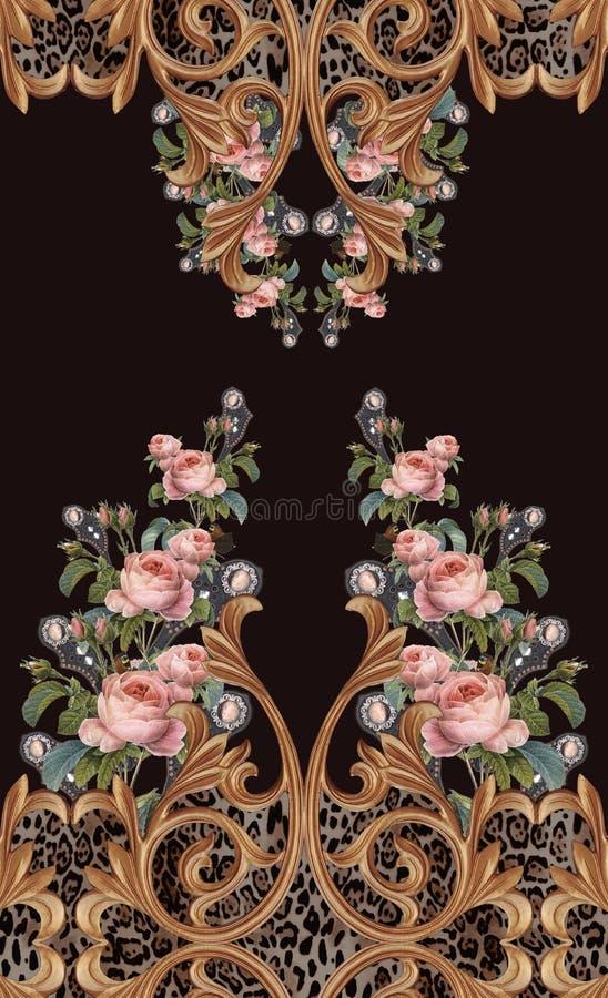 Животная печать цветет барочный дизайн стоковое фото rf