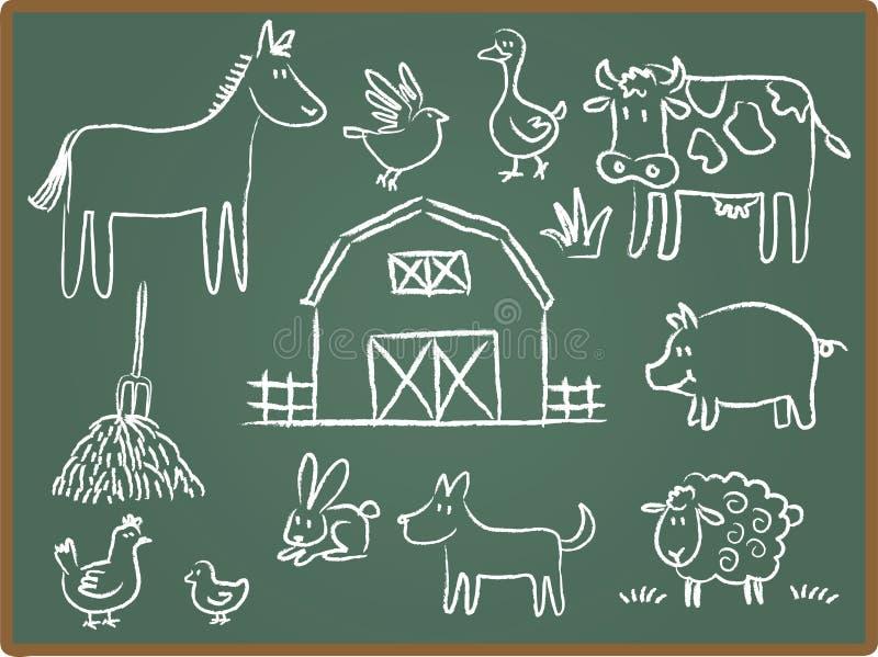 животная ферма chalkboard иллюстрация штока