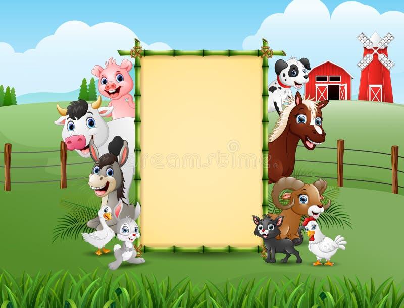 Животноводческие фермы с пустым бамбуком знака бесплатная иллюстрация