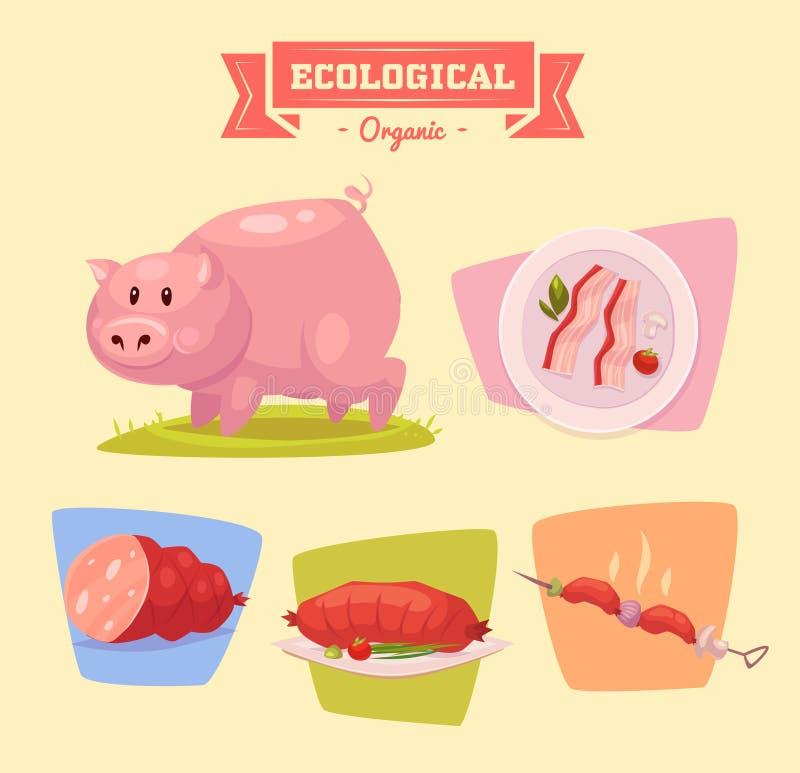 Животноводческая ферма и продукты сделанные из их свинья иллюстрация штока