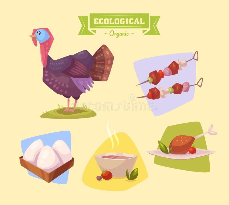 Животноводческая ферма и продукты сделанные из их иллюстрация штока