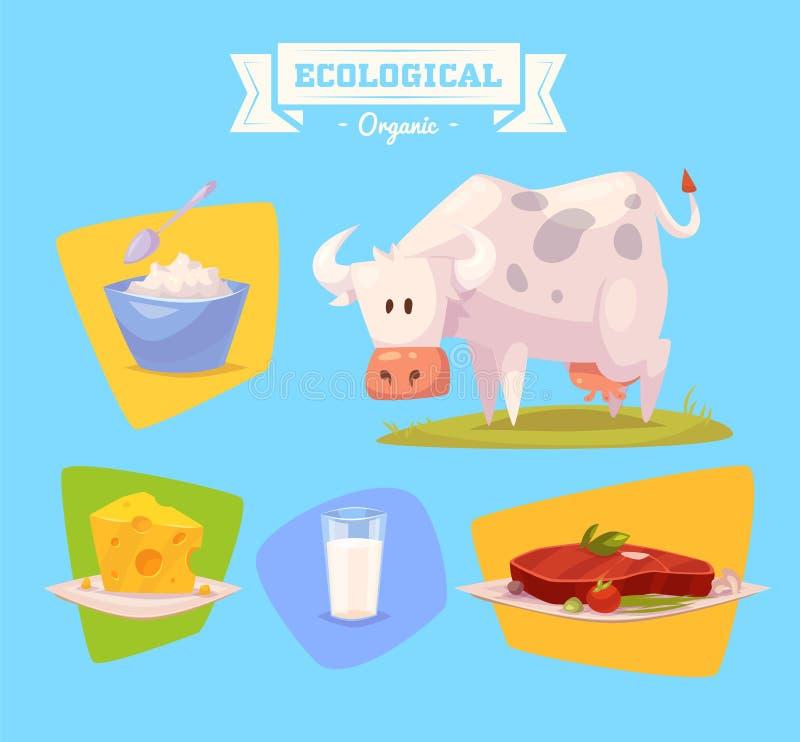 Животноводческая ферма и продукты сделанные из их бесплатная иллюстрация