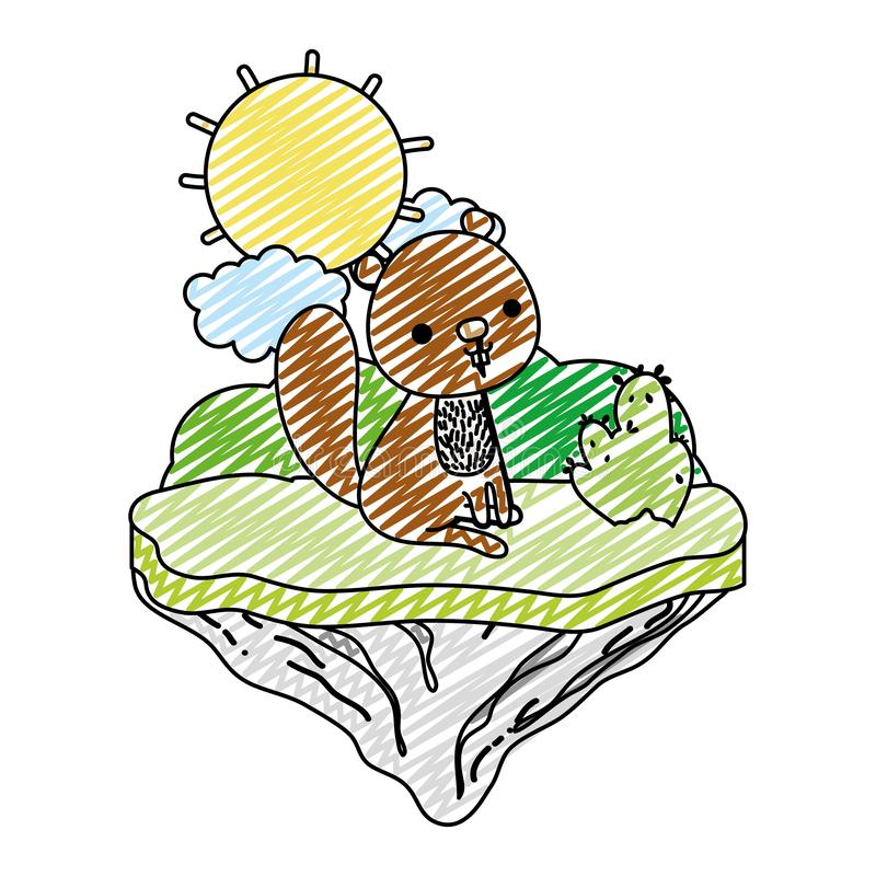 Животное бобра Doodle славное в острове поплавка иллюстрация вектора