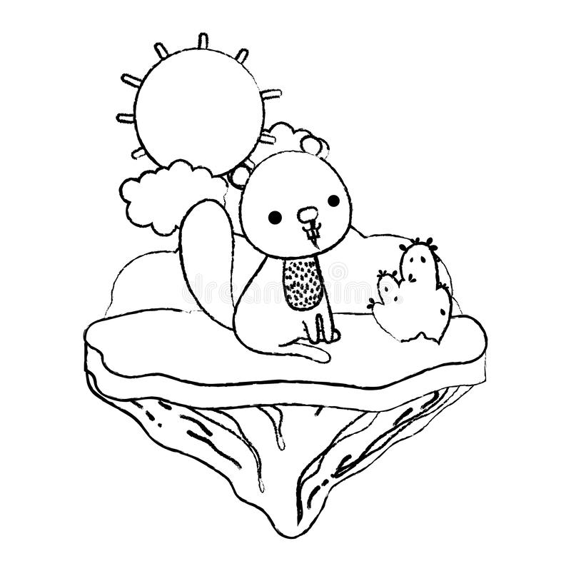 Животное бобра Grunge славное в острове поплавка бесплатная иллюстрация