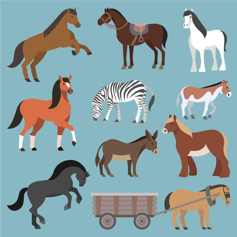 Животное вектора лошади комплекта лошад-размножения или конноспортивной и horsey или equine иллюстрации жеребца animalistic horsy иллюстрация вектора