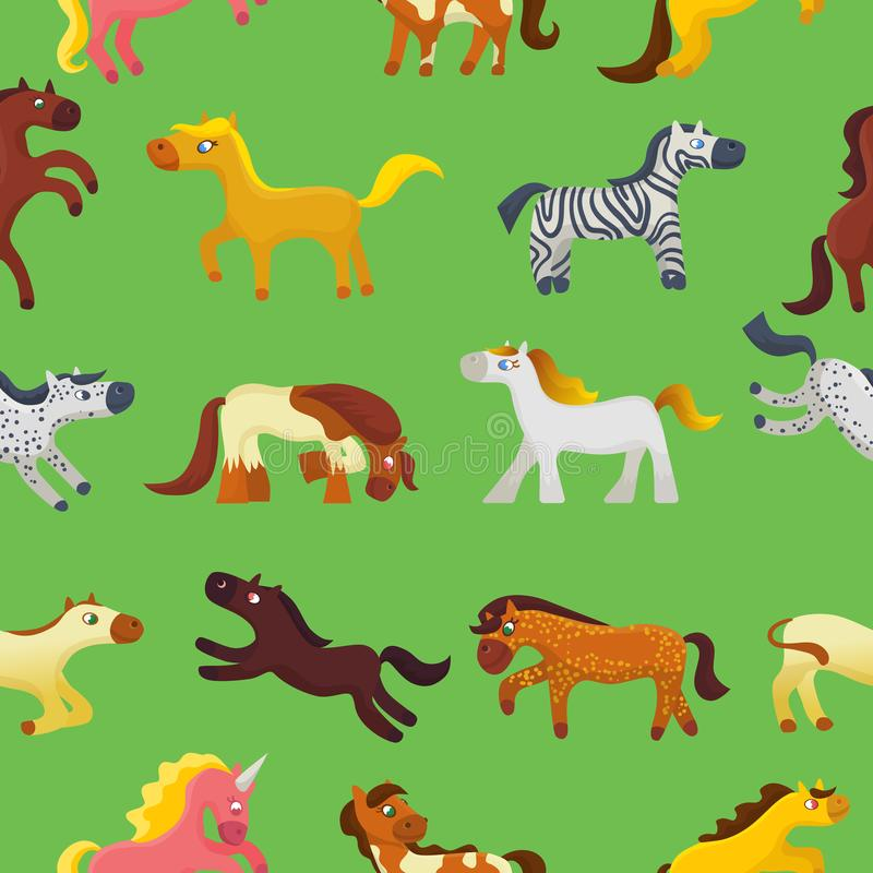 Животное вектора лошади шаржа милое лошад-размножения или дети конноспортивные и horsey или equine иллюстрация жеребца childly бесплатная иллюстрация