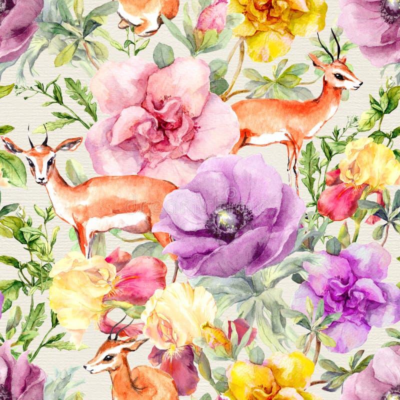 Животное и цветки антилопы Винтажный нейтральный повторяя цветочный узор Пастельный watercolour иллюстрация вектора
