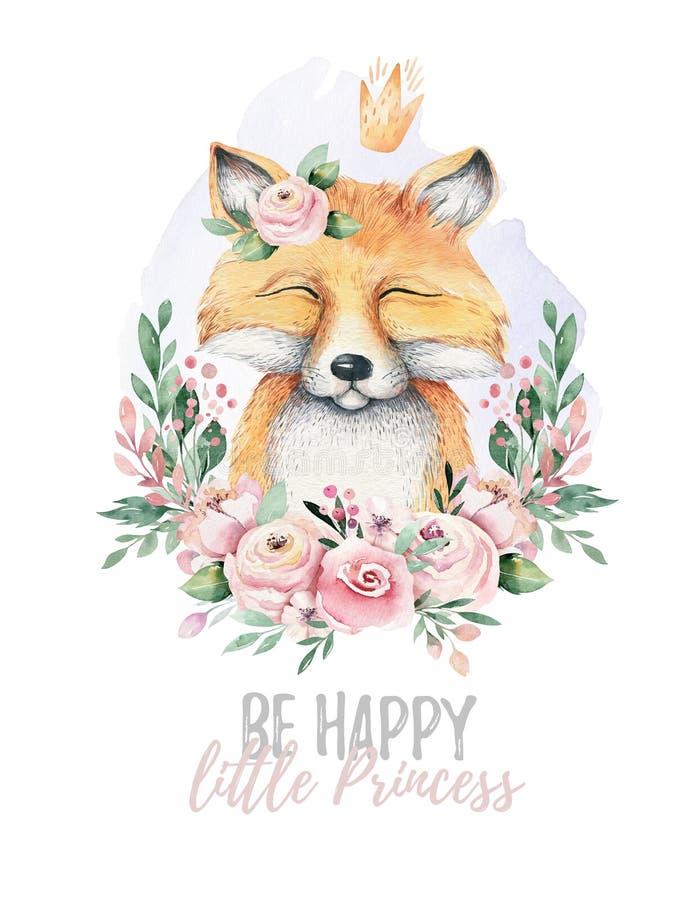 Животное лисы младенца акварели изолированное мультфильмом милое с цветками Иллюстрация полесья питомника леса Богемское boho иллюстрация штока