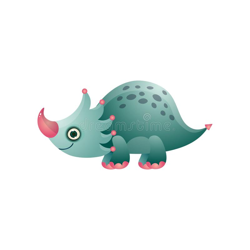 Животное милого красочного динозавра трицератопса поставленное точки и прекрасное иллюстрация вектора