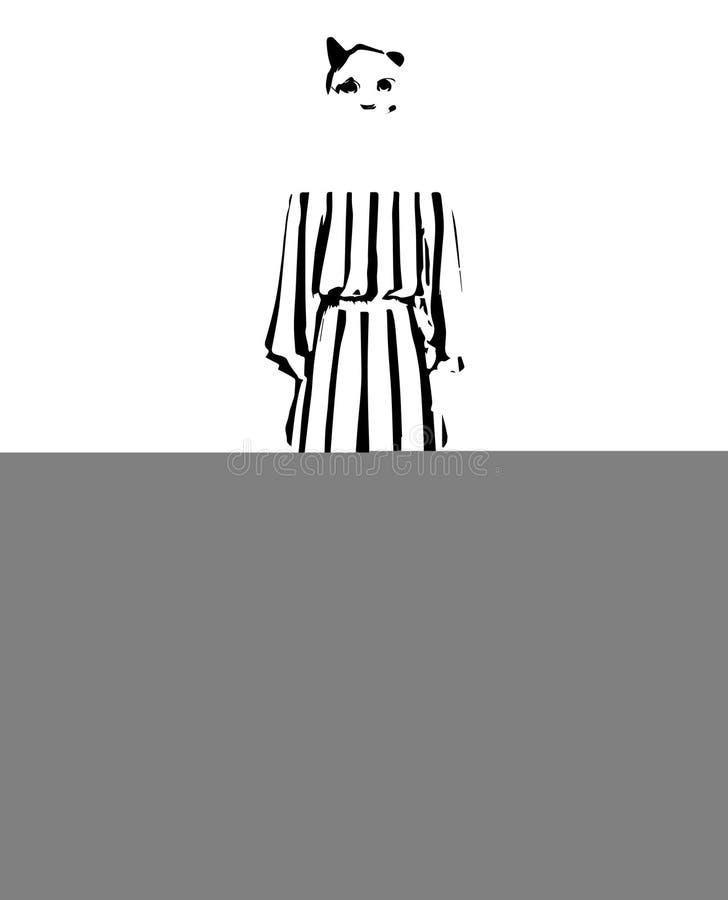 Животное моды Эскиз женщины модельный Девушка в платье иллюстрация штока