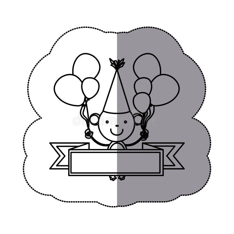 животное обезьяны силуэта стикера милое с воздушными шарами и декоративной лентой иллюстрация вектора