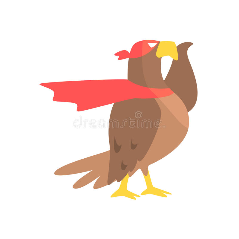 Животное орла одетое как супергерой с характером Виджиленти накидки шуточным замаскированным геометрическим иллюстрация вектора