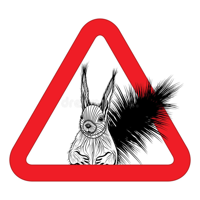Животное освобождает, подписывает предупреждающий вектор зоны белки иллюстрация штока