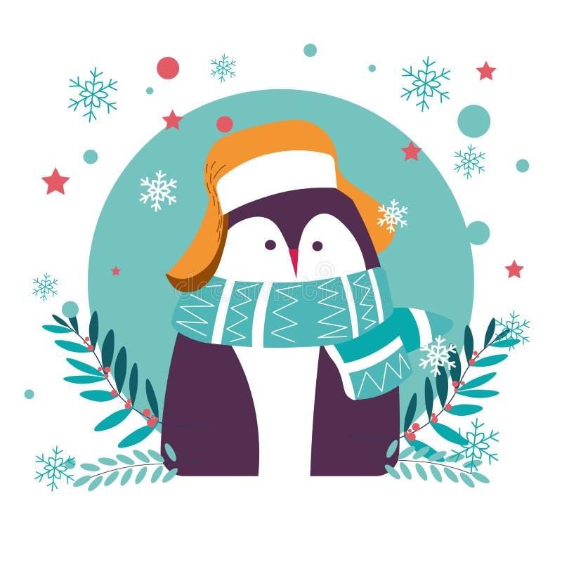 Животное пингвина нося теплую шляпу и связанный шарф иллюстрация штока