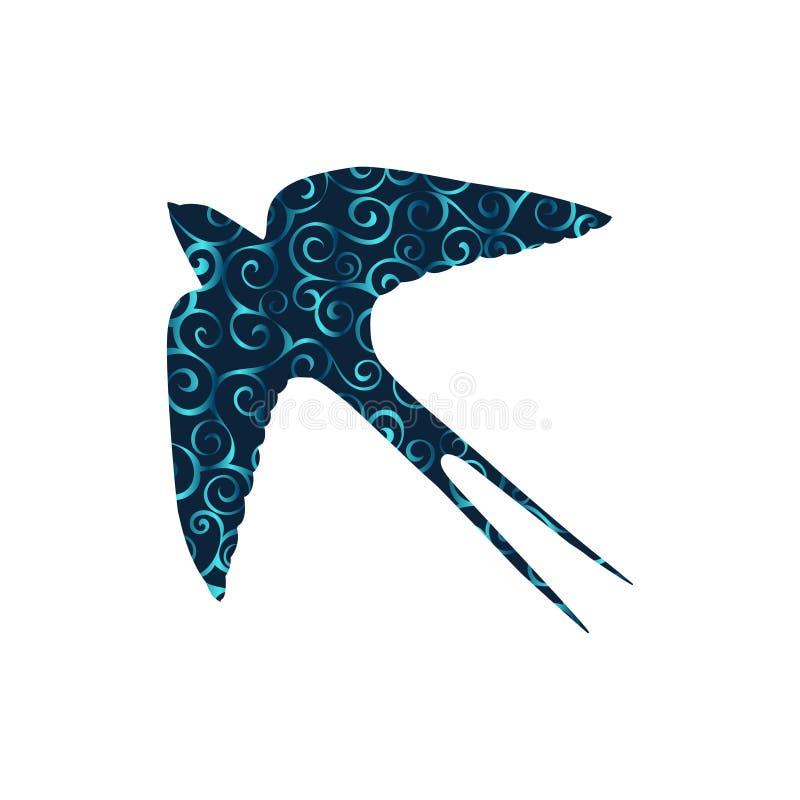 Животное силуэта цвета картины спирали птицы ласточки иллюстрация вектора