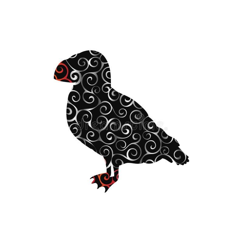 Животное силуэта цвета картины спирали птицы тупика иллюстрация штока