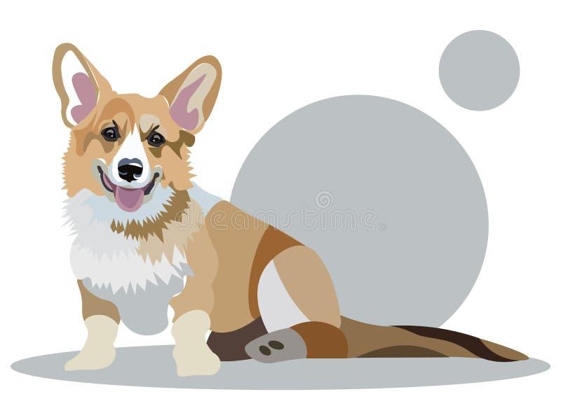 Животное собаки Corgi Иллюстрация вектора мультфильма плоско иллюстрация вектора